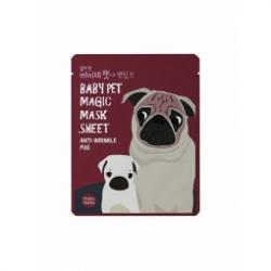Holika Holika Baby Pet Magic Mask Sheet (Anty-wrinkle Pug) - Тканевая маска-мордочка против морщинок (Мопс), 22 мл