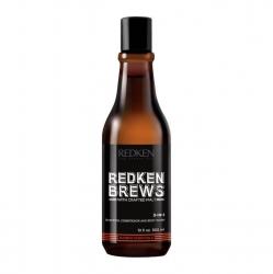 Redken Brews 3-In-1 Shampoo, Conditioner & Body Wash - Шампунь, кондиционер и гель для душа 3 в 1, 300 мл