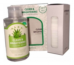 Deoproce Clean & Brightening Aloe Cleansing Water - Вода очищающая с экстрактом алоэ, 500 гр