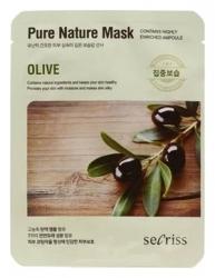 Anskin Secriss Pure Nature Mask Pack- Olive - Маска для лица тканевая с экстрактом оливы, 25мл