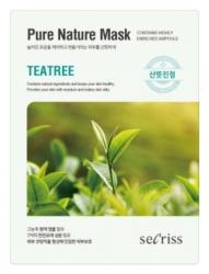 Anskin Secriss Pure Nature Mask Pack- Teatree - Маска для лица тканевая с зеленым чаем, 25мл