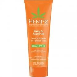 Hempz Yuzu & Starfruit Touch of Summer Fair Skin - Молочко солнцезащитное для тела с бронзантом светлого оттенка Юдзу и Карамбола SPF 30, 200 мл