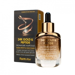 FarmStay 4K Gold & Peptide Signature Ampoule - Сыворотка ампульная с золотом и пептидами, 35 мл