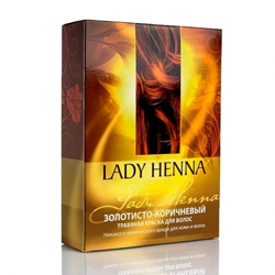 Lady Henna Натуральная краска для волос «Золотисто-коричневый» 2*50 гр