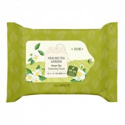 The Saem Healing Tea Garden Green Tea Cleansing Tissue - Салфетки очищающие с экстрактом зеленого чая, 20 шт