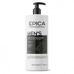 Epica Men's Hair & Bodywash 3in1 - Мужской шампунь 3в1 с охлаждающим эффектом, маслом апельсина 1000мл
