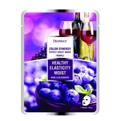 Deoproce Color Synergy Effect Sheet Mask Purple - Маска тканевая на основе черники и красного винограда, 20 г