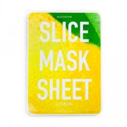 Kocostar Slice Mask Sheet Lemon - маски в виде кружочков лимона, пропитаны экстрактом лимона, 20 мл