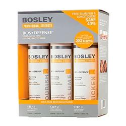 Bosley Воs Defense Starter Pack - Система для нормальных/тонких окрашенных волос (шампунь, кондиционер, уход) 150 мл+150 мл+ 100 мл
