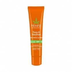 Hempz Yuzu & Starfruit Daily Herbal Lip Balm SPF 15  - Бальзам для губ солнцезащитный увлажняющий Юдзу и Карамбола SPF 15, 12 г