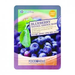 FoodaHolic Blueberry Natural Essence 3D Mask - Тканевая 3Д маска для лица с натуральным экстрактом черники, 23 г