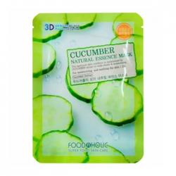 FoodaHolic Cucumber Natural Essence 3D Mask - Тканевая 3Д маска для лица с натуральным экстрактом огурца, 23г