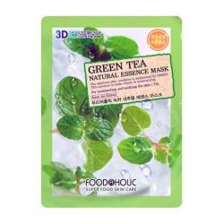 FoodaHolic Green Tea Natural Essence 3D Mask - Тканевая 3Д маска для лица с натуральным экстрактом зелёного чая, 23г