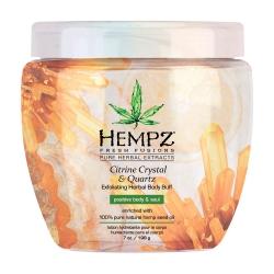 Hempz Fresh Fusion Citrine Crystal & Quartz Herbal Body Buff - Скраб для тела интенсивный с мерцающим эффектом Желтый Кварц, 198г
