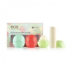 Eos Набор бальзамов Eos (3 бальзама + 1 бальзам-помада)Сладкая мята, летние фрукты, жимолость-мускатная дыня, ваниль
