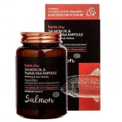 FarmStay Salmon Oil &Peptide Vital Ampoule - Сыворотка ампульная многофункциональная с маслом лосося и пептидами, 250 мл
