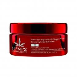 Hempz Shimmering Herbal Body Butter Triple Moisture: Frosted Pomegranate & Sugar Plum - Крем питательный для тела с мерцающим эффектом Тройное увлажнение: Ледяной гранат и Сахарная слива 227г