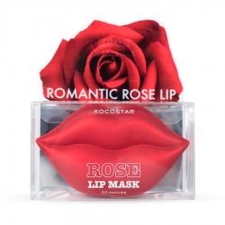 Kocostar Rose Lip Mask  - Гидрогелевые патчи для губ Роза 20 патчей, 50г