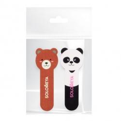 Solomeya - Набор для натуральных и искусственных ногтей: Пилка Медвежонок 180/220 грит и полировщик для ногтей Маленькая Панда 400/3000 грит