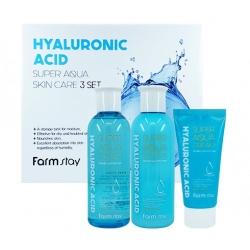 FarmStay Hyaluronic Acid Super Aqua Skin Care 3 set - Набор средств по уходу за кожей с гиалуроновой кислотой, 200мл*200мл*50мл