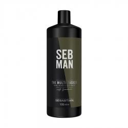 Seb Man THE MULTITASKER 3 в 1 - Шампунь для ухода за волосами, бородой и телом, 1000мл