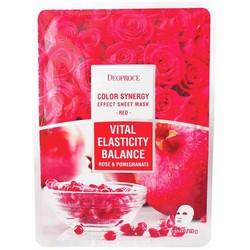 Deoproce Color Synergy Effect Sheet Mask Red - Маска тканевая с экстрактом граната и лепестков роз, 20 г