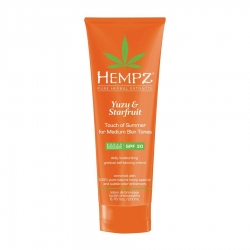Hempz Yuzu & Starfruit Touch of Summer Medium Skin - Молочко солнцезащитное для кожи темного оттенка Юдзу и Карамбола SPF 30, 200 мл