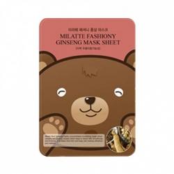 Milatte Fashiony Ginseng Mask Sheet - Маска тканевая с экстрактом красного женьшеня, 21 г