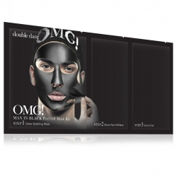 Double Dare OMG! Man In Black Peel Off Mask Kit - Маска мужская трехкомпонентная для ухода за кожей лица