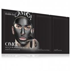 Double Dare OMG! Man In Black Peel Off Mask Kit - Маска мужская трехкомпонентная для ухода за кожей лица