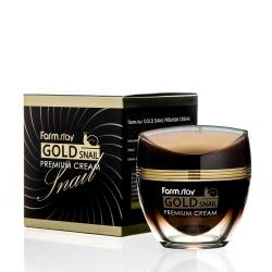 FarmStay Gold Snail Premium Cream - Крем премиальный с золотом и муцином улитки, 50 мл