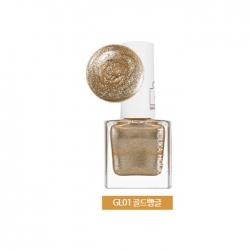 Holika Holika Piece Matching Nails - Sparkling - Лак для ногтей с жемчужным глиттером, тон GL01, золотой браслет, 10 мл