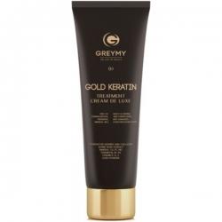 Greymy Gold Keratin Treatment Cream De Luxe - Кератиновый крем для выпрямления с частицами золота, 100 мл