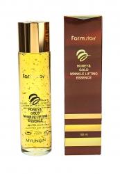 FarmStay Honey & Gold Wrinkle Lifting Essence - Сыворотка с лифтинг-эффектом с экстрактом меда и золотом, 150 мл
