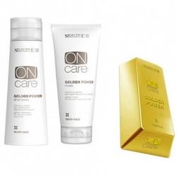 """Selective Professional Golden Power Shampoo+Mask - Набор """"Золотистый шампунь и маска для натуральных или окрашенных волос теплых светлых тонов, 200+250 мл"""
