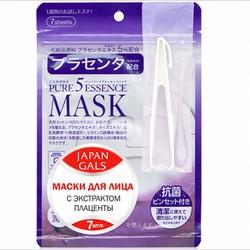 Japan Gals Pure 5 Essential - Маски для лица с плацентой, 7 шт