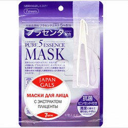 Japan Gals Pure 5 Essential - Маски для лица с плацентой, 7 шт