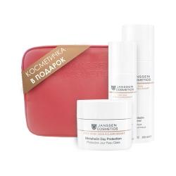 """Janssen Fair Skin - Подарочный набор """"Фарфоровая кожа"""" в розовой фирменной косметичке"""