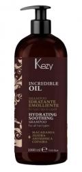 Kezy Incredible Oil Hydrating and Soothing Shampoo - Шампунь увлажняющий и разглаживающий для всех типов волос, 1000 мл
