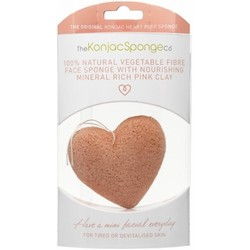The Konjac Sponge Company Premium Heart Puff with French Pink - Спонж для умывания лица с розовой глиной