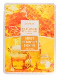 Deoproce Color Synergy Effect Sheet Mask Yellow - Маска тканевая на основе фильтрата улитки и мёда, 20 г