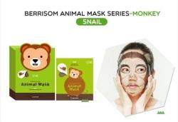 Berrisom Animal Mask monkey - Маска для лица с муцином улитки , Обезьянка