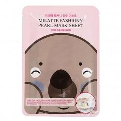 Milatte Fashiony Pearl Mask Sheet - Маска тканевая с экстрактом жемчуга, 21 г