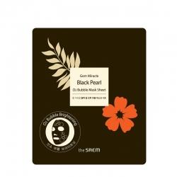 The Saem Gem Miracle Black Pearl O2 Bubble Mask Sheet - Кислородная листовая маска для лица с экстрактом черного жемчуга, 27 г