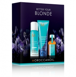 Moroccanoil Better Your Blonde - Набор для блонда (сух.шамп 65мл+тонир.шамп 70мл+масло 25мл)