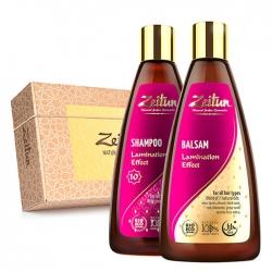 """Zeitun Lamination Effect Hair Set - Подарочный набор """"Натуральный эффект ламинирования"""" (шамп+бальзам)"""