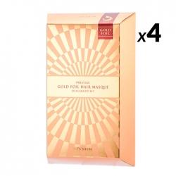 It's Skin Prestige Gold Foil Hair Masque D'escargot Set - Восстанавливающие маски для волос с фильтратом муцина улитки, 4 шт*40 г