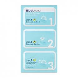 It's Skin Blackhead Clear 3-Step Solution Sheet - Набор от чёрных точек на лице 3 шт