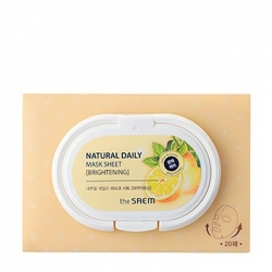 The Saem Natural Daily Mask Sheet - Brightening - Набор осветляющих тканевых масок для тусклой кожи лица, 20 шт