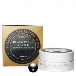 Petitfee Black Pearl & Gold Hydrogel Eye Patch - Гидрогелевые патчи для век с экстрактом чёрного жемчуга и био-частицами золота, 60 шт